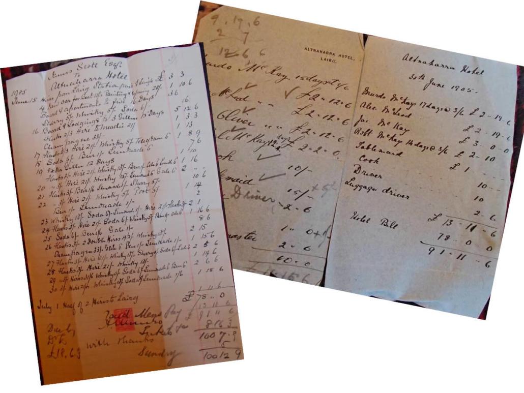 Altnaharra Hotel Guest Bills 1905